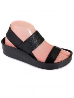 Дамски сандали с ластици - черни