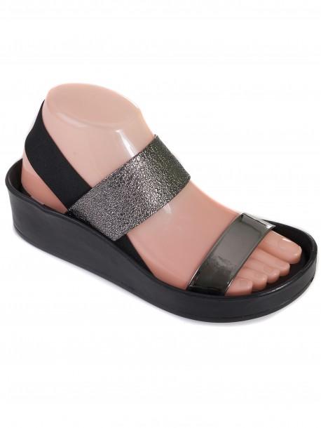Дамски сандали с ластици - металик