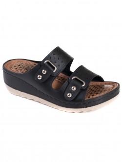 Дамски чехли с платформа - черни