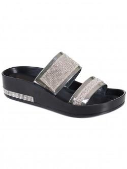 Дамски чехли със сребриста декорация