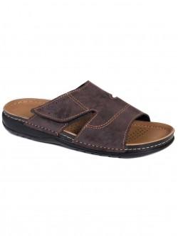 Мъжки чехли с лепка - кафяви