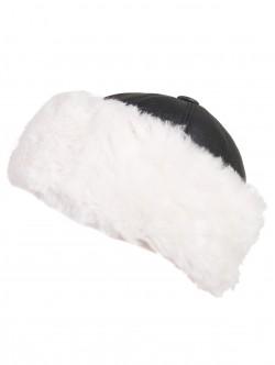 Дамски калпак от естествена кожа - бяло и черно