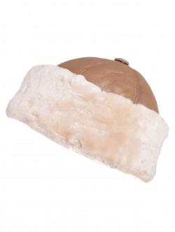 Дамски калпак от естествена кожа - бежов