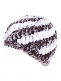 Плетена шапка с кожа от чинчила