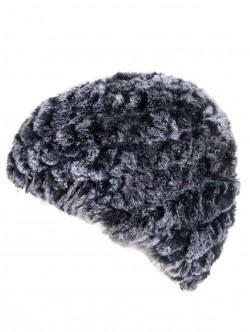 Зимна плетена шапка с кожа от чинчила