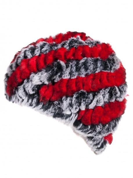 Дамска плетена шапка с кожа от чинчила