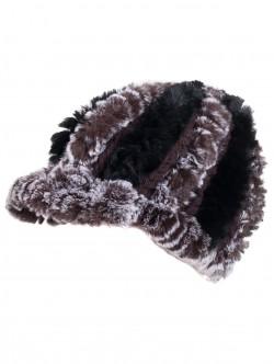 Зимна шапка с козирка от чинчила