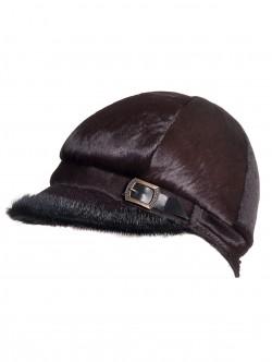 Черна шапка с козирка от естествена кожа