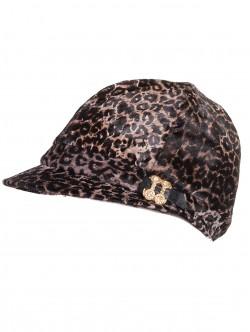 Шапка от естествена кожа с леопардов принт