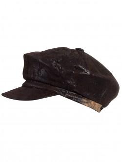 Кафяв дамски каскет от естествена кожа