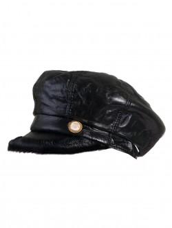Черен дамски каскет от естествена кожа