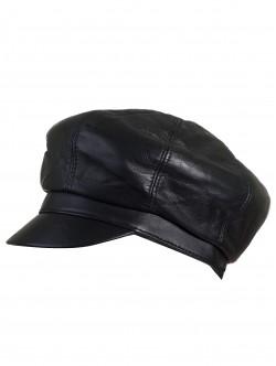 Черен дамски каскет с козирка