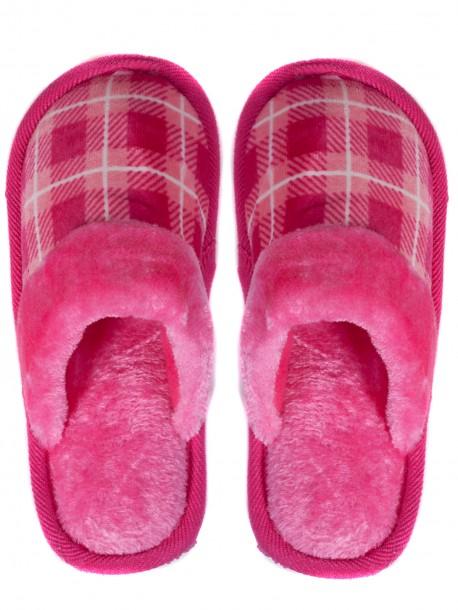 Дамски домашни пантофи на каре - розови