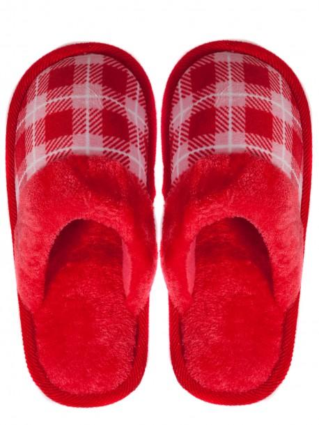 Дамски домашни пантофи на каре - червени