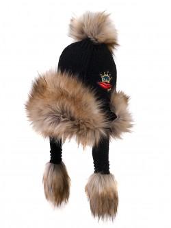 Топла шапка с уши - черна