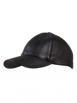 Бейсболка от естествена кожа - черен цвят
