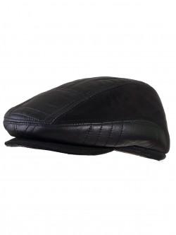Мъжки каскет от естествена кожа - черен