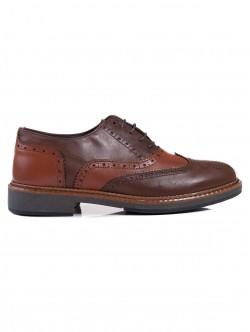 Мъжки обувки от естествена кожа - кафяви