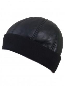 Мъжка шапка от естествена кожа с ластик