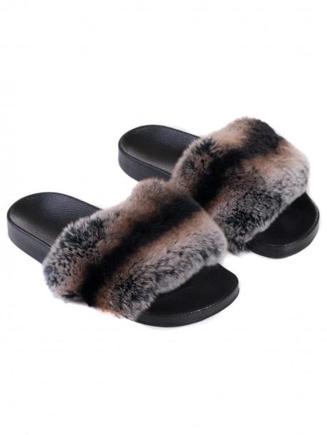 Дамски чехли от естествена кожа - кафяви