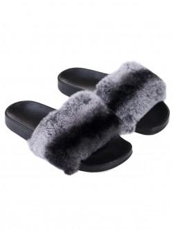 Дамски чехли от естествена кожа - сиви