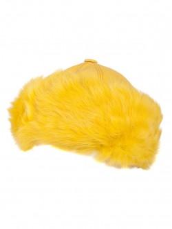 Дамска шапка от кожа - жълта