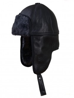 Мъжка шапка от естествена кожа - сив косъм