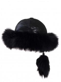 Пухкава шапка от естествена кожа - черна