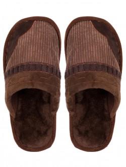 Топли мъжки пантофи - кафяви