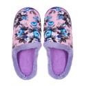 Дамски домашни пантофи на цветя - лилави