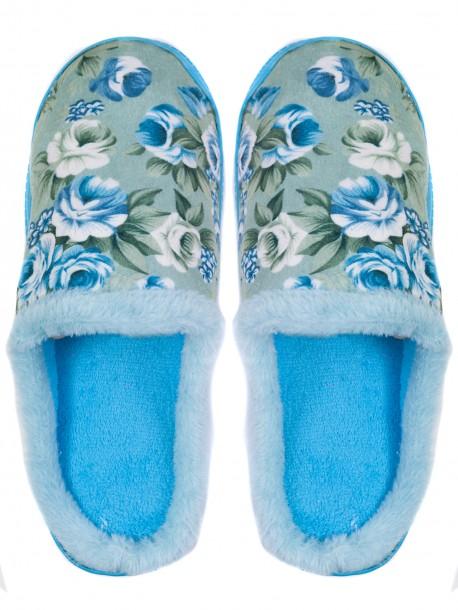Дамски домашни пантофи на цветя - светло сини 3156