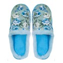 Дамски домашни пантофи на цветя - светло сини