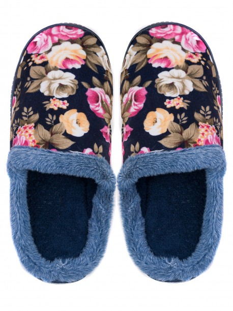Дамски домашни пантофи на цветя - тъмно сини 3156