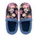 Дамски домашни пантофи на цветя - тъмно сини