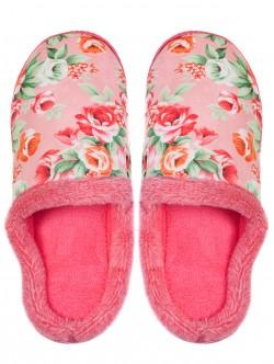 Дамски домашни пантофи на цветя - розови