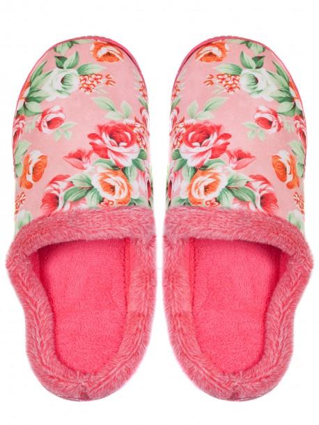 Дамски домашни пантофи на цветя - розови 3156