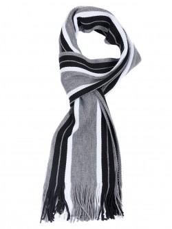 Мъжки шал в светло сиво и черно