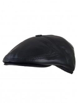 Мъжки каскет от кожа в черен цвят