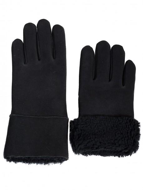 Дамски ръкавици с естествен каракул - черни
