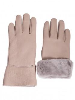 Дамски ръкавици с естествен каракул - сиви