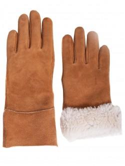 Дамски ръкавици с естествен каракул - кафяви