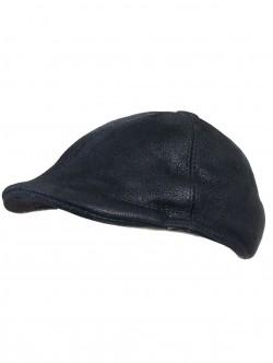 Мъжки каскет от естествена кожа - черен крек