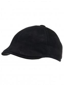 Мъжки каскет от естествена кожа - черен велур