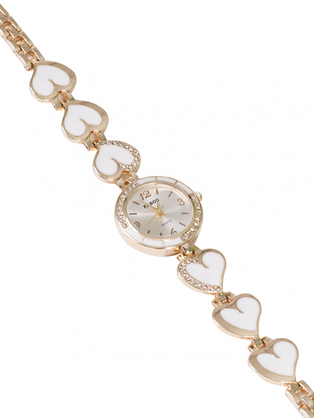 Дамски часовник с верижка на сърца - бял