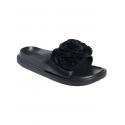 Анатомични чехли с цвете - черни