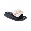 Анатомични чехли с цвете - бежово