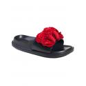 Анатомични чехли с цвете - червено