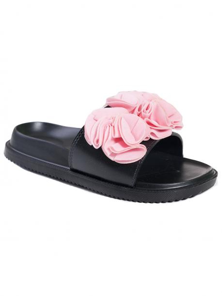 Анатомични чехли с цвете - розово