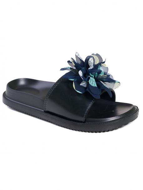 Чехли за дами с цвете - синьо