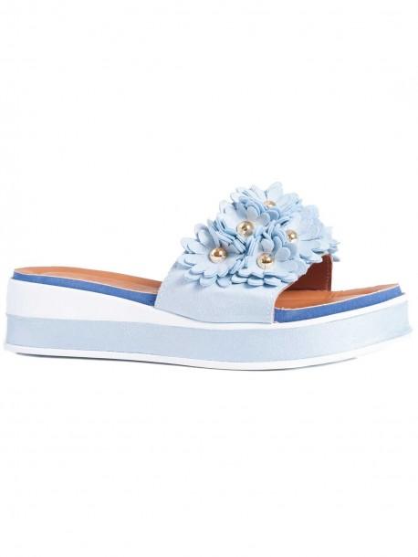 981048795d7 Дамски чехли с удобна подметка - светло сини 03864 на топ цена - VODO